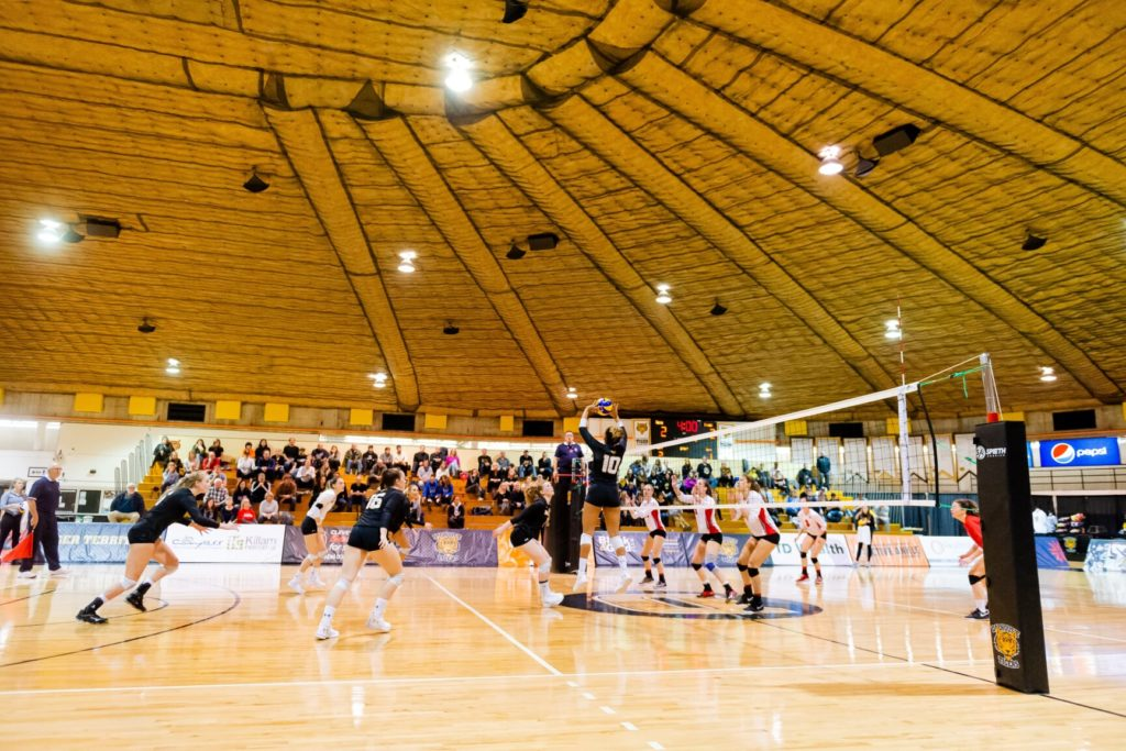 In this image: a volleyball game against Dalhousie and Acadia.