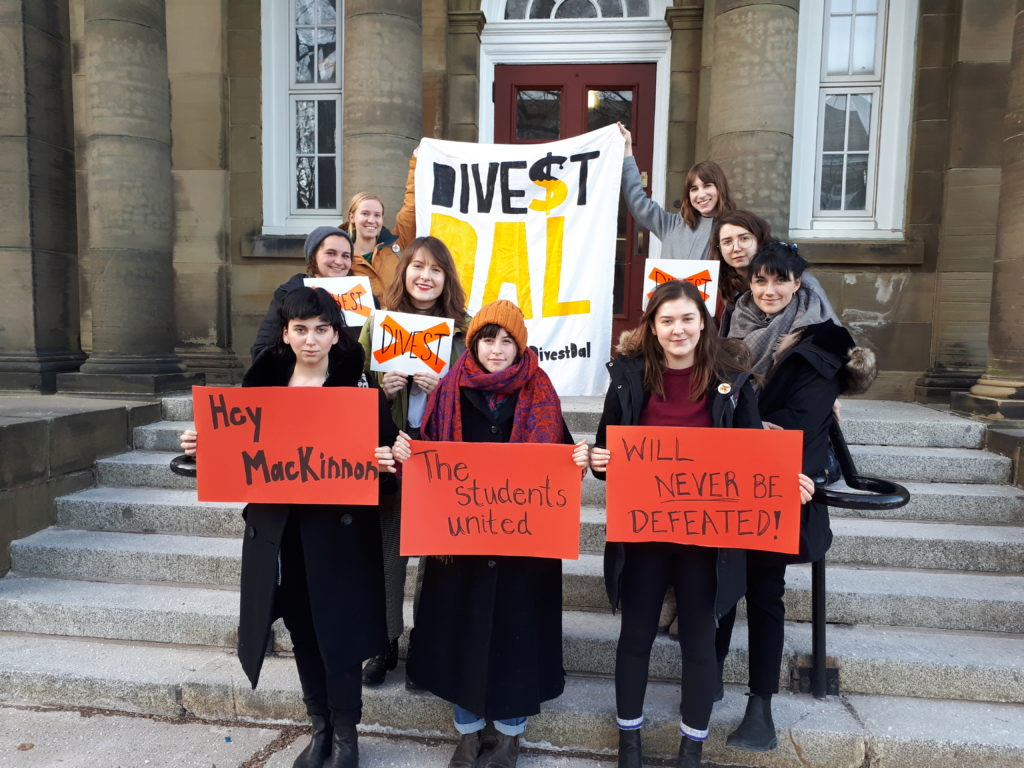 In this image: Students supporting Divest Dal at the Board of Governor's meeting.