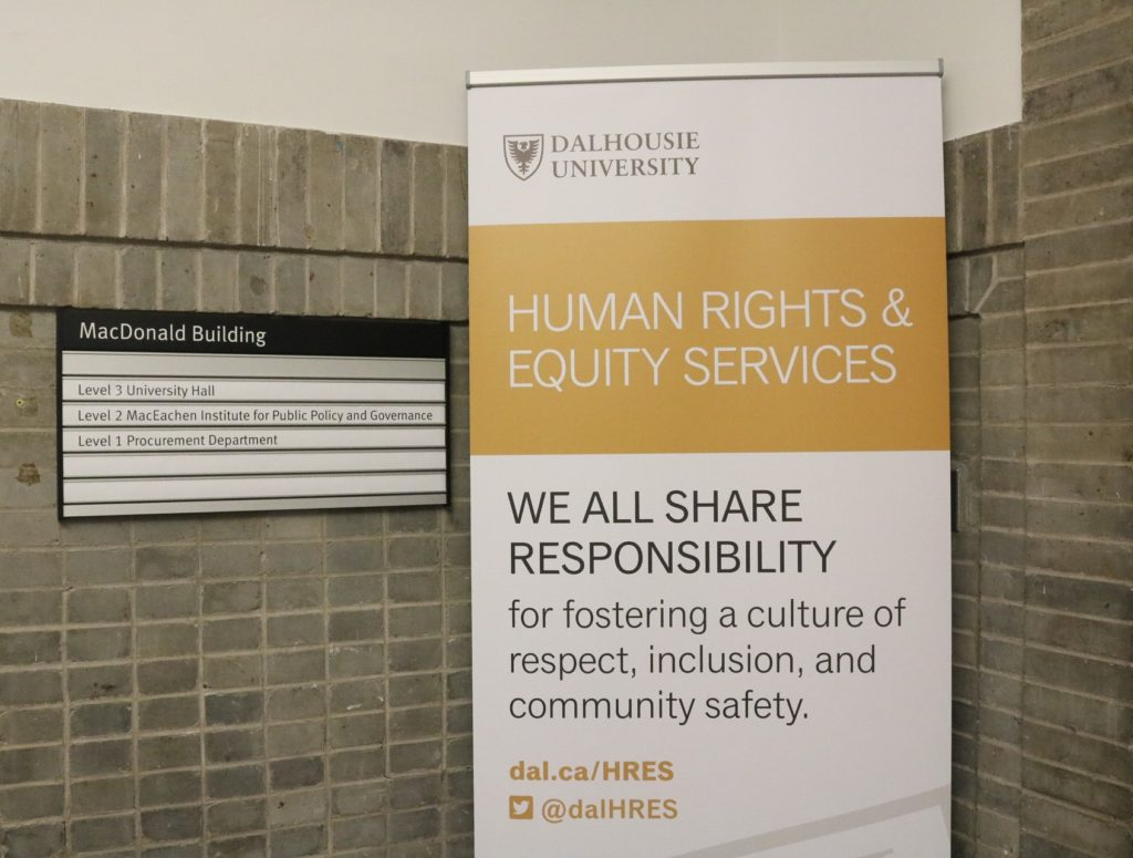 In this image: Dalhousie's Human Rights & Equity Services sign.