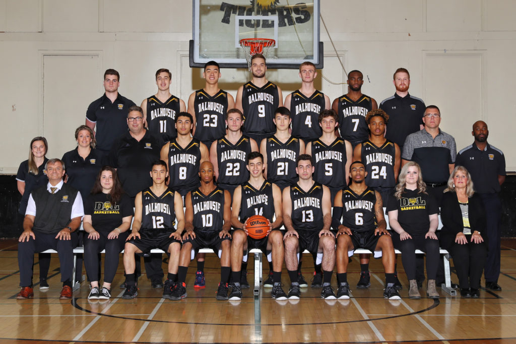 In this image: Dalhousie's men's basketball team.