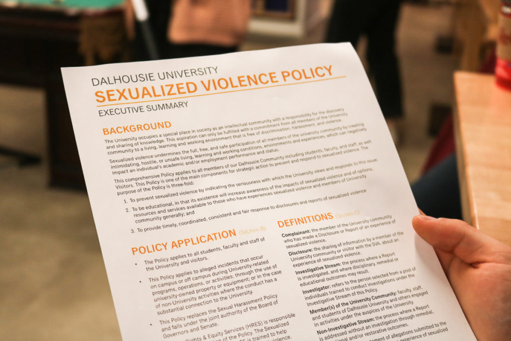 In this image: Dalhousie University's Sexualized Violence policy.