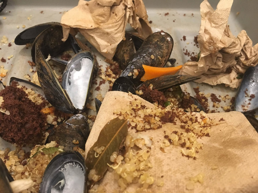 In this image: A bin of leftover quinoa, mussel shells, napkins and other food waste.