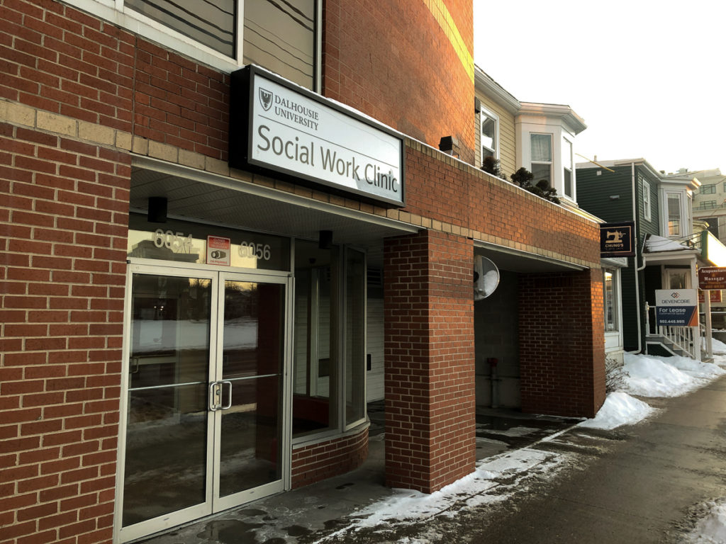 In this image: Dalhousie's School of Social Work Community Clinic on Quinpool Road.