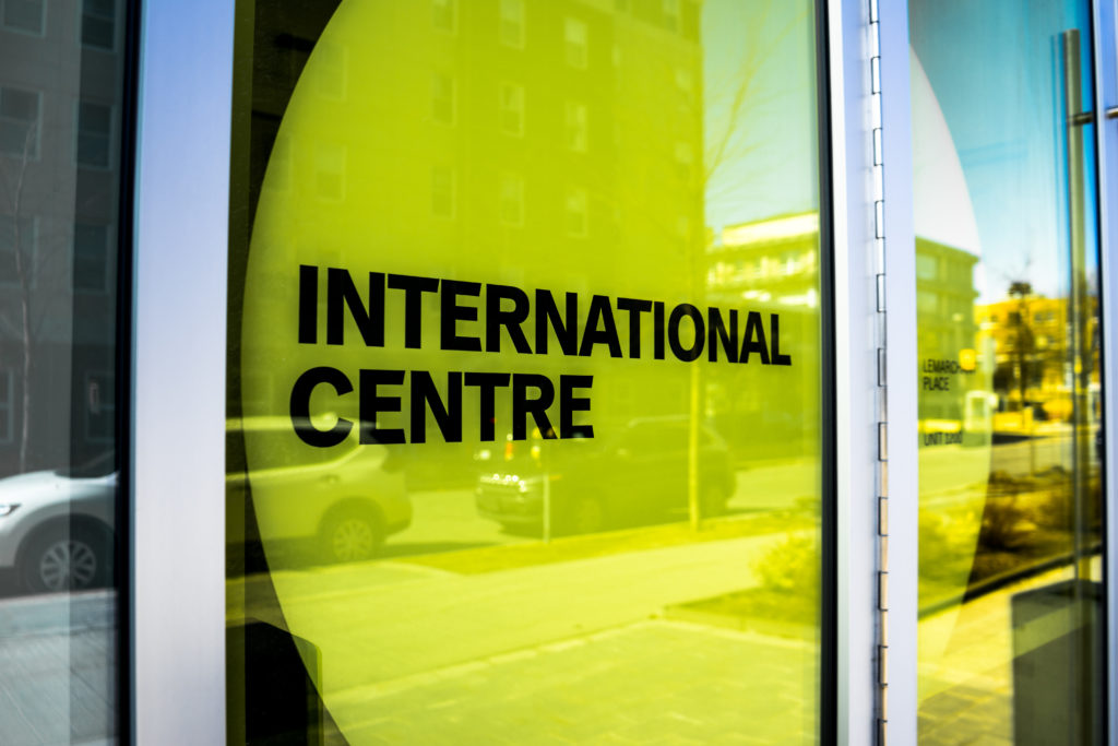 In this image: The sign of Dalhousie's International Centre.