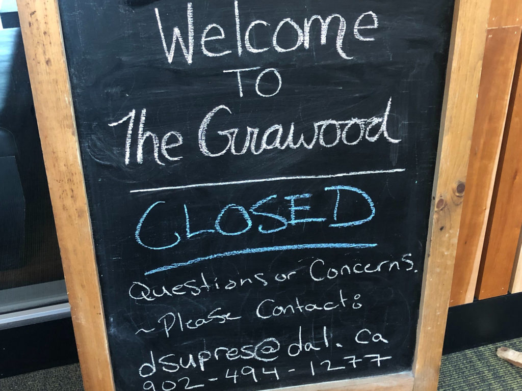 In this image: An easel stating The Grawood is closed.