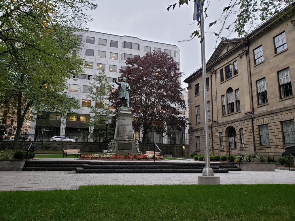 In this image: The statue of Joseph Howe on Hollis Street.