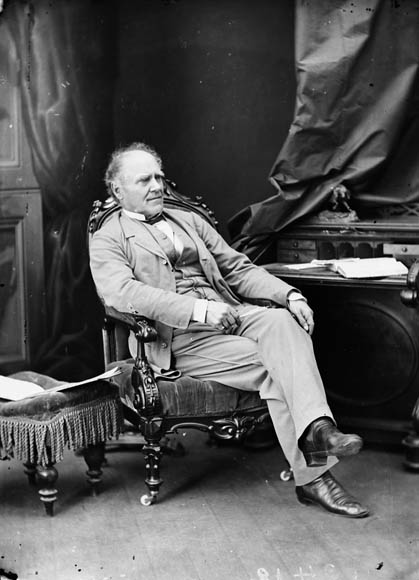 In this image: A black and white portrait of Joseph Howe from the 19th century.
