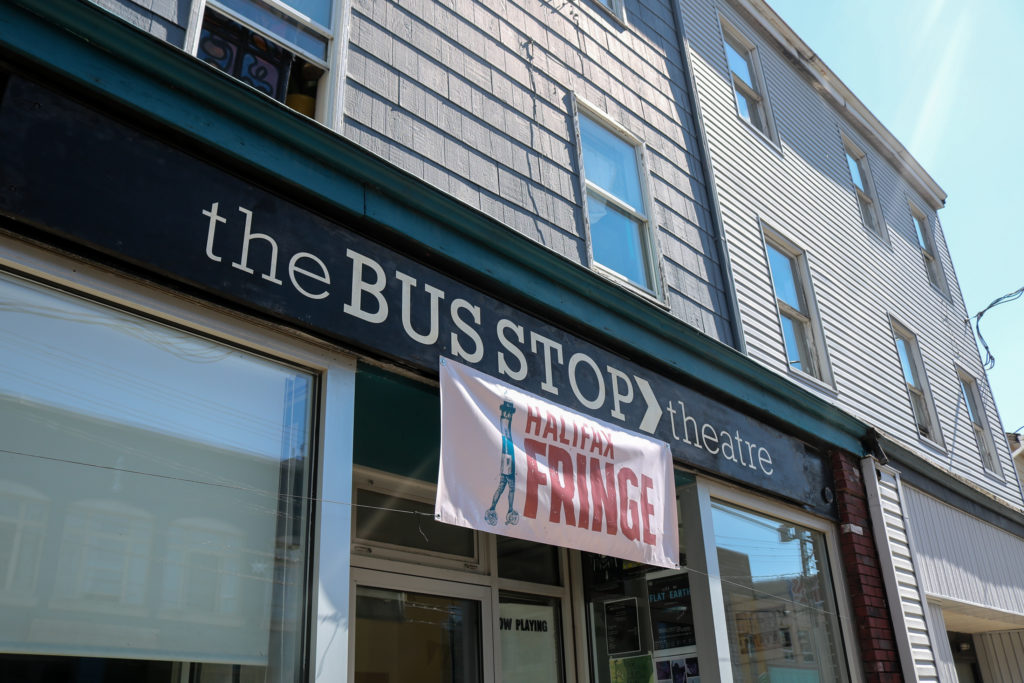 In this image: The front of The Bus Stop Theatre Co-op