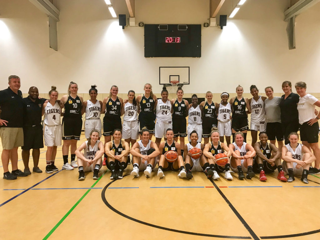 In this image: Dalhousie's women's basketball team poses for a photo in Germany.