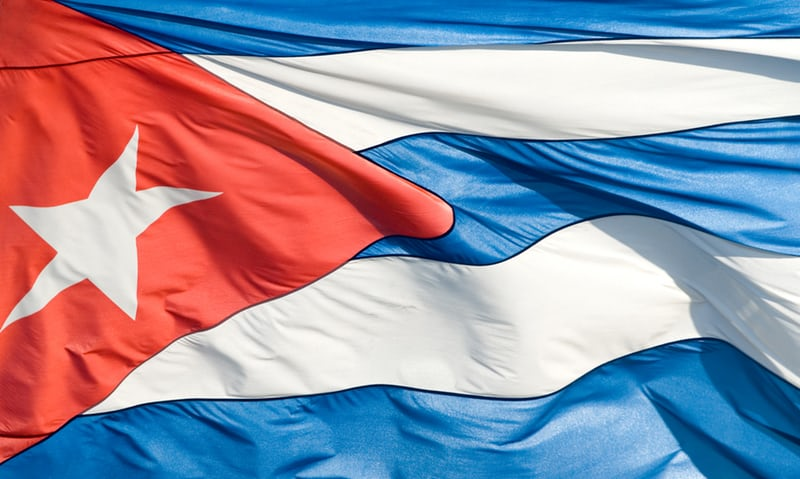 In this image: Cuba's flag.