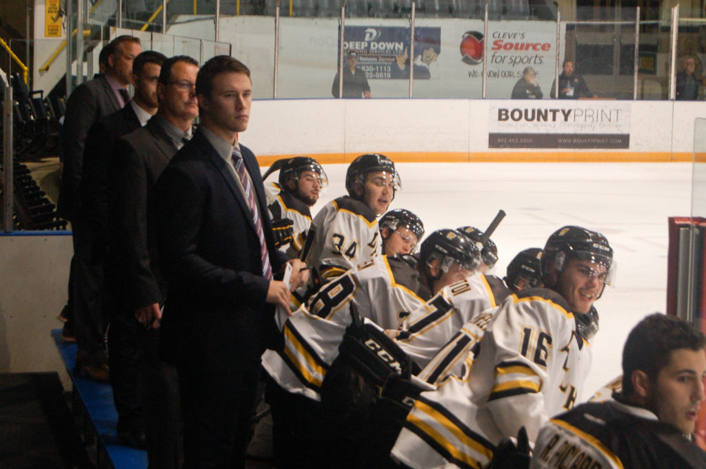 In this image: The Tiger's men's hockey team coaches and players at a game.