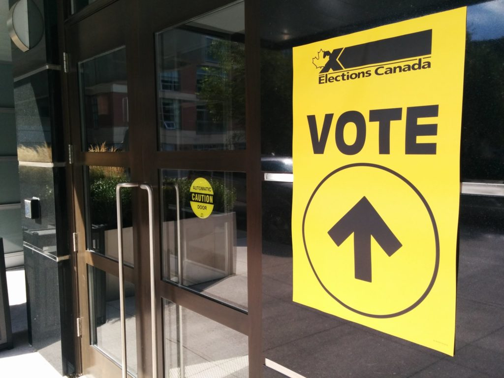 In this image: A Elections Canada polling station.