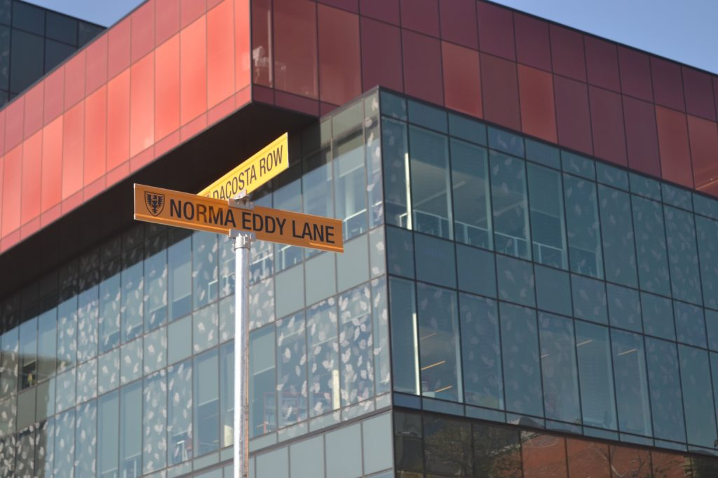 In this image: The newly named street signs on Dalhousie's Sexton Campus.