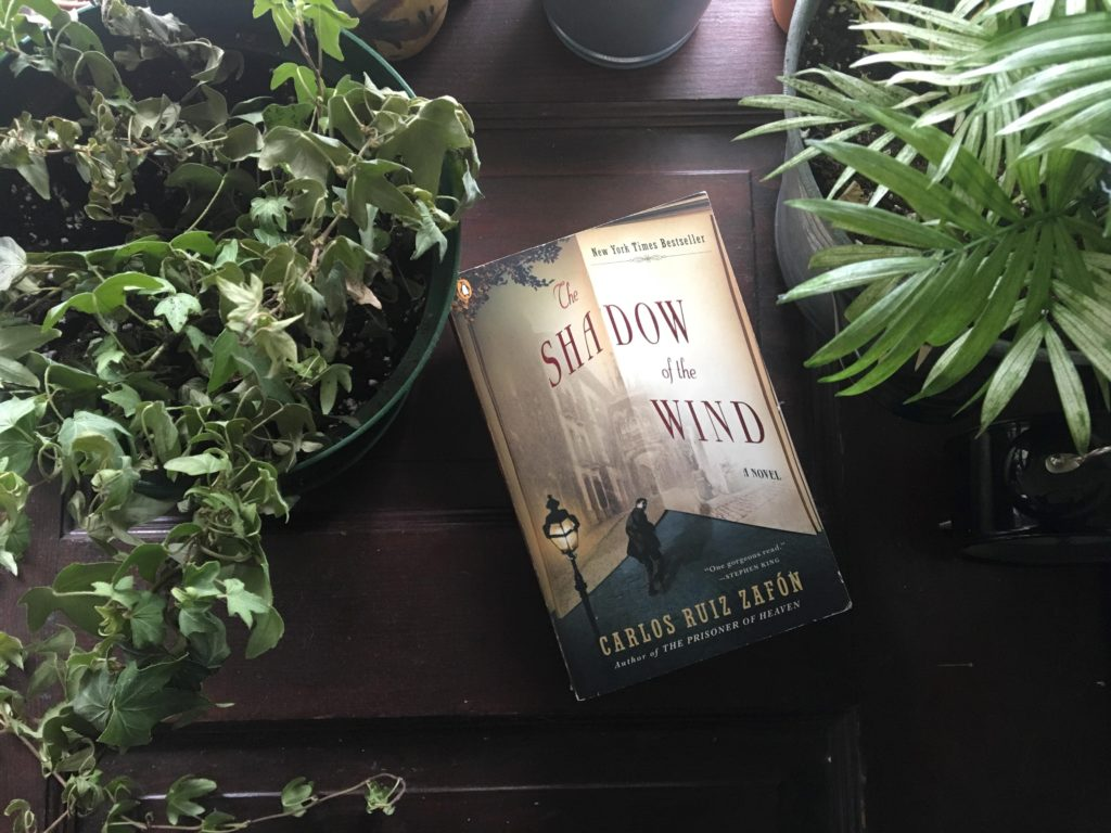 In this image: Book cover of The Shadow of the Wind.