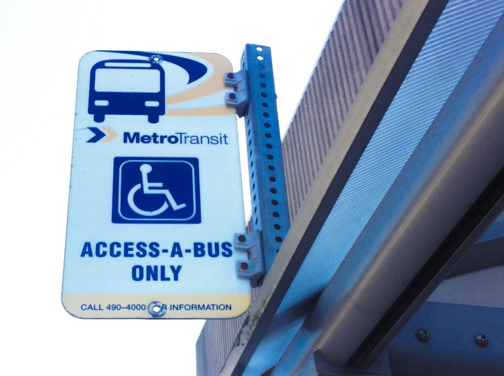 In this image: A photo of a Metro Transit (Halifax Transit) Access-a-Bus sign.