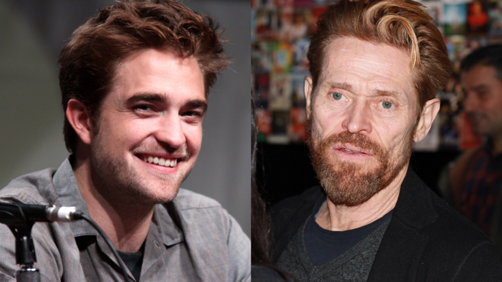 In this image: Robert Pattinson and Willem Dafoe.