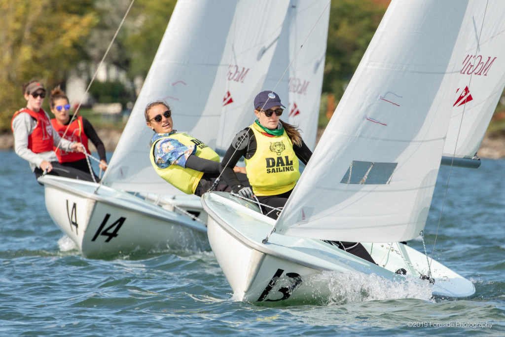 In this image: Kat Walker and Sierra Fahrman competing in the McGill University Invitational Regatta.