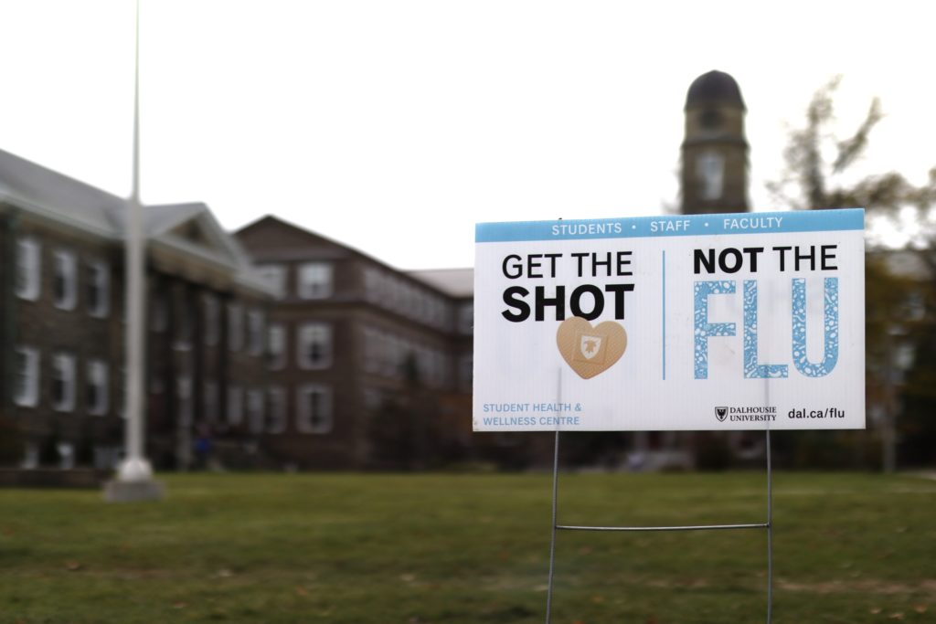 In this image: A Dalhousie Student Health & Wellness Centre Flu Shot sign.