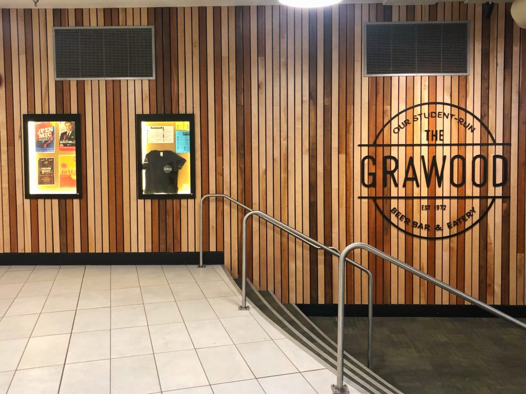 In this image: The outside of the Grawood.