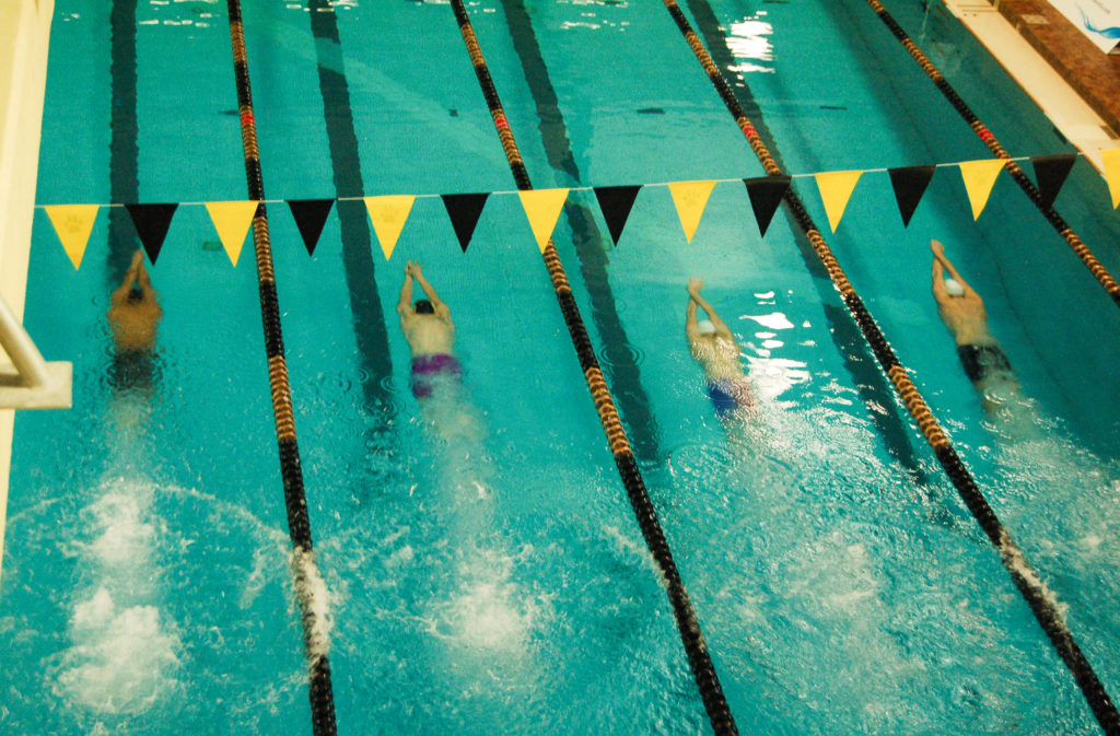In this image: The Dalhousie University men's swimming team swims during the Kemp-Fry Invitational.