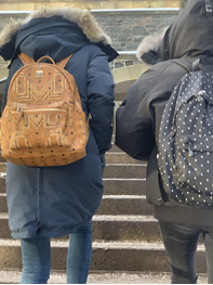 In this image: The backs of two people wearing winter coats and backpacks.