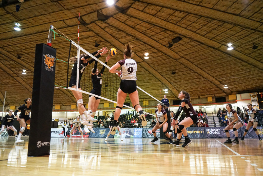 In this image: A volleyball game between Dalhousie University and Saint Mary's University.