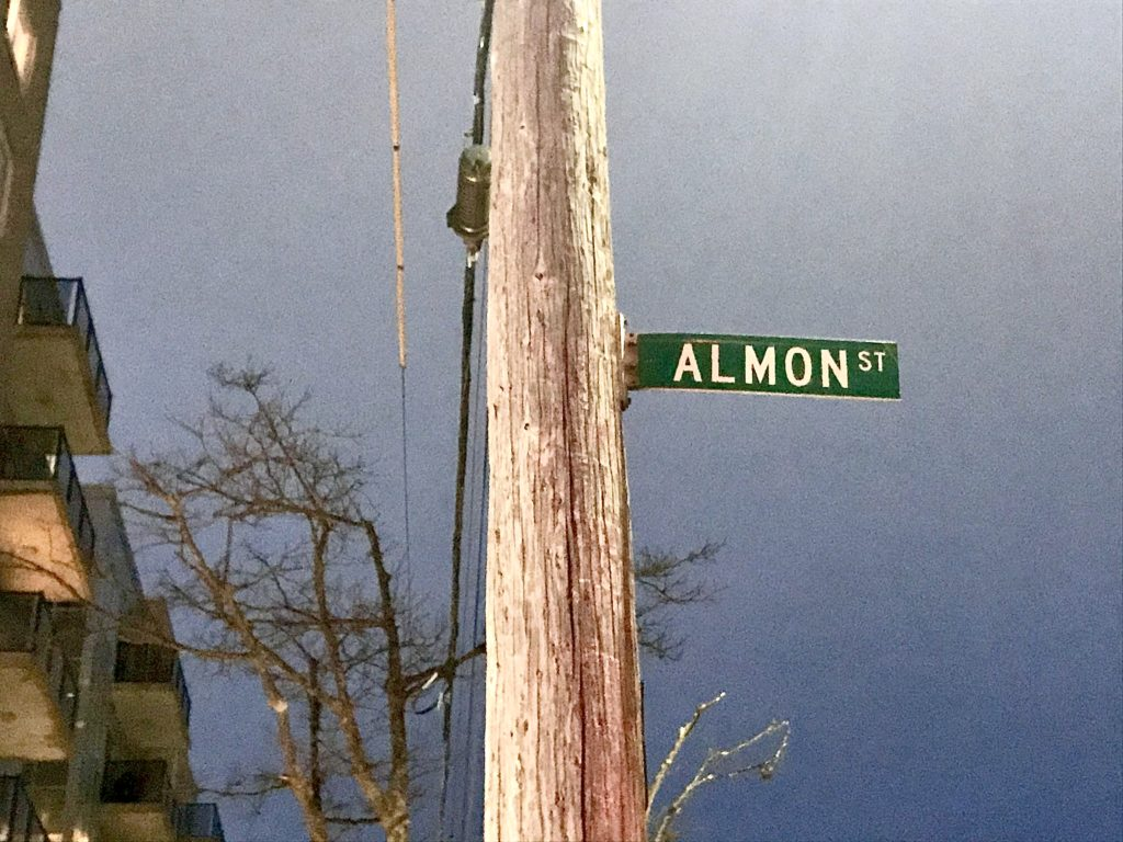 In this image: Almon Street's street sign.