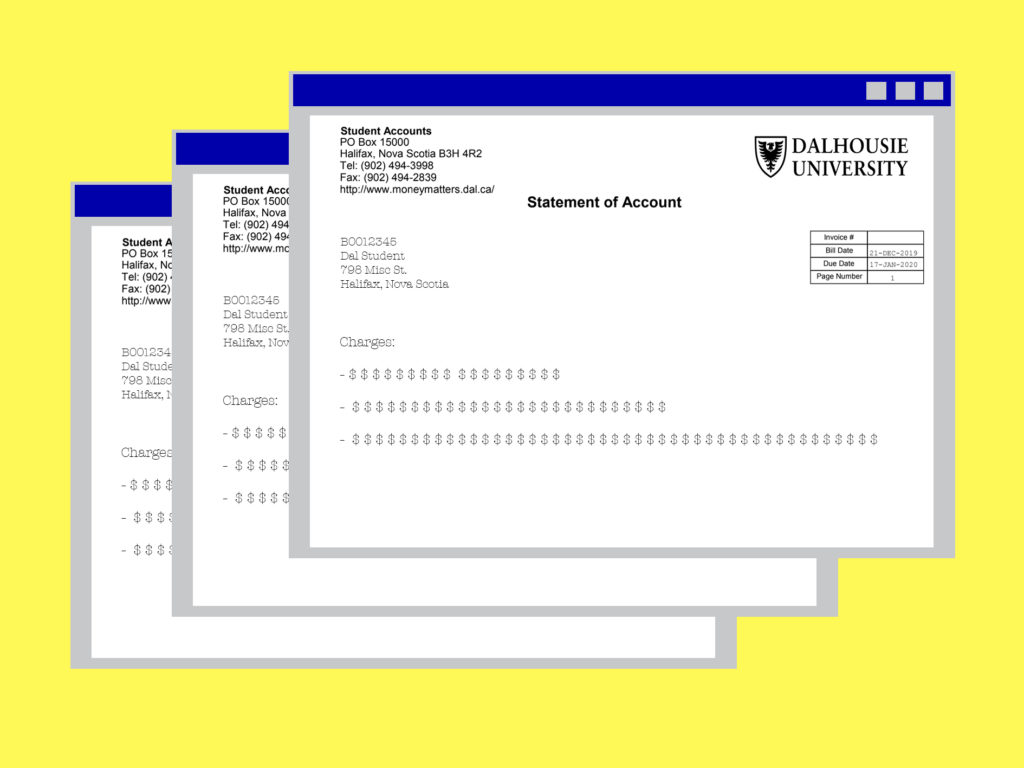 In this image: A graphic showing a Dalhousie University Statement of Account.