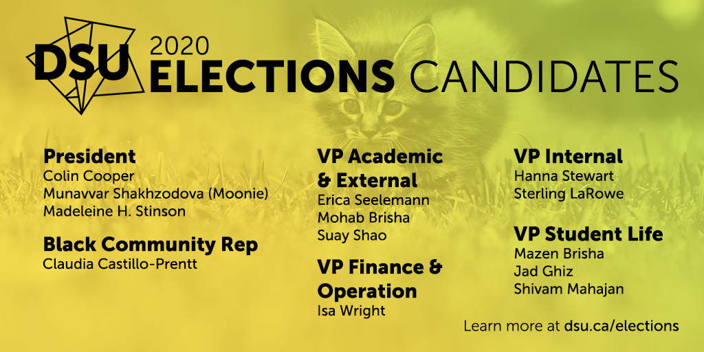 In this image: A graphic of the Dalhousie Student Union elections candidates.