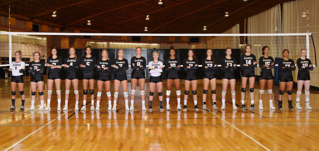 In this image: The Dalhousie Tigers women's volleyball team.