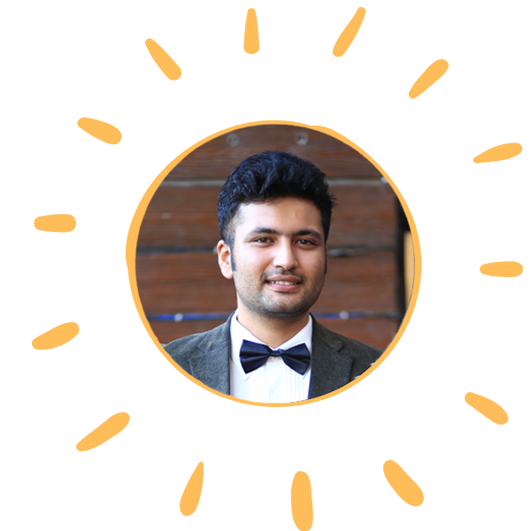 In this image: Ankit in sun graphic