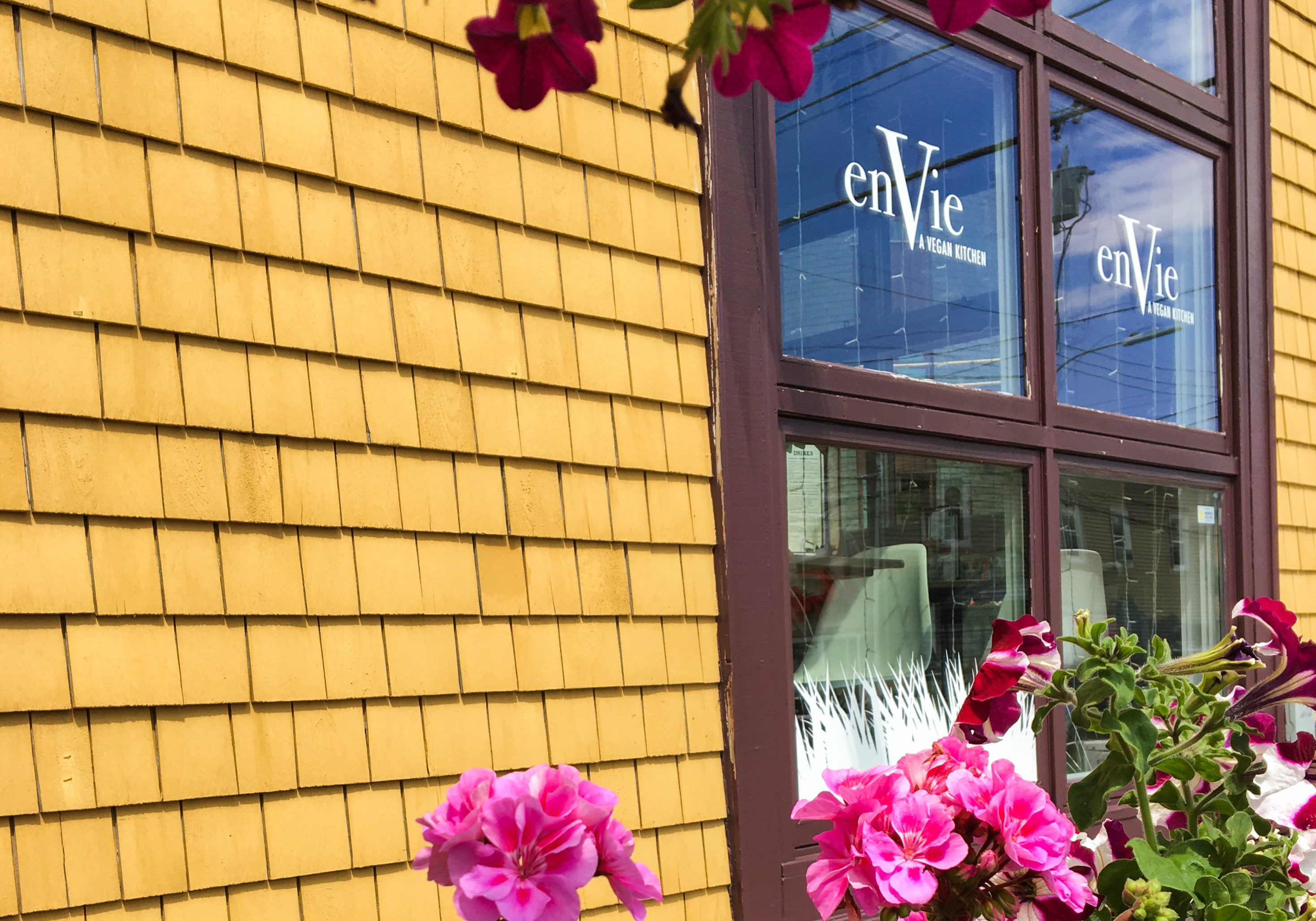 In this image: The side of enVie: A Vegan Kitchen.