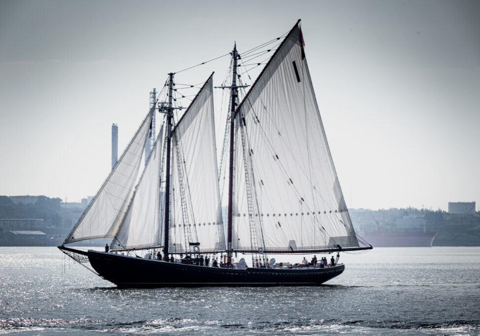 The Bluenose II entering Halifax harbour as it escorted the HMSC Frederiction back home safely in July of 2020. (Photo by Karly Barker | karlybarker.com)