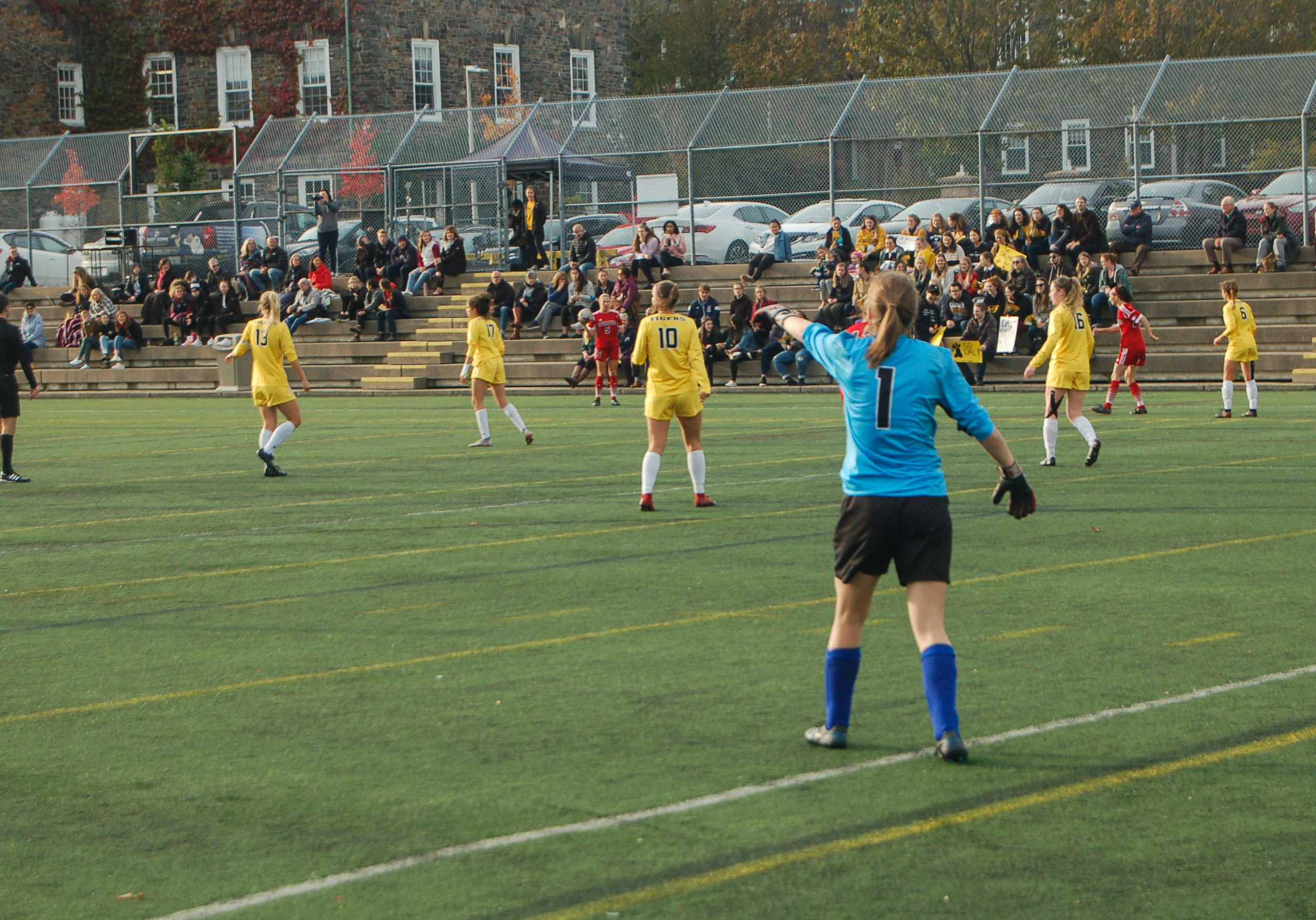 In this image: A women's soccer game at Dalhousie University.