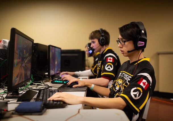 In this image: Dalhousie University's Overwatch team plays Overwatch.