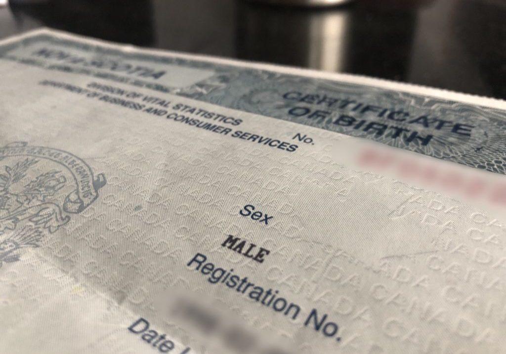 A Nova Scotia birth certificate.