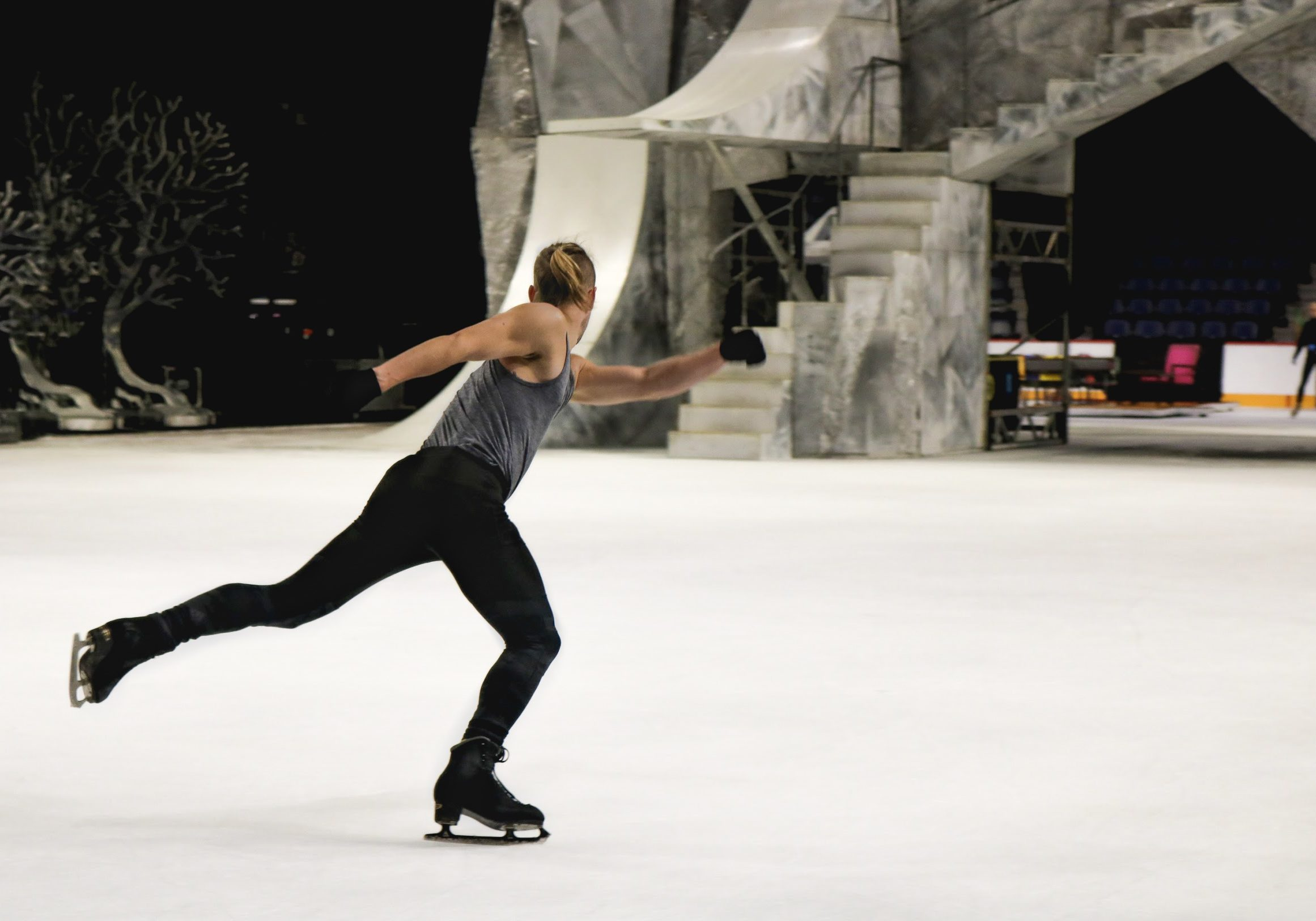 In this image: Shawn Sawyer practicing his skating.