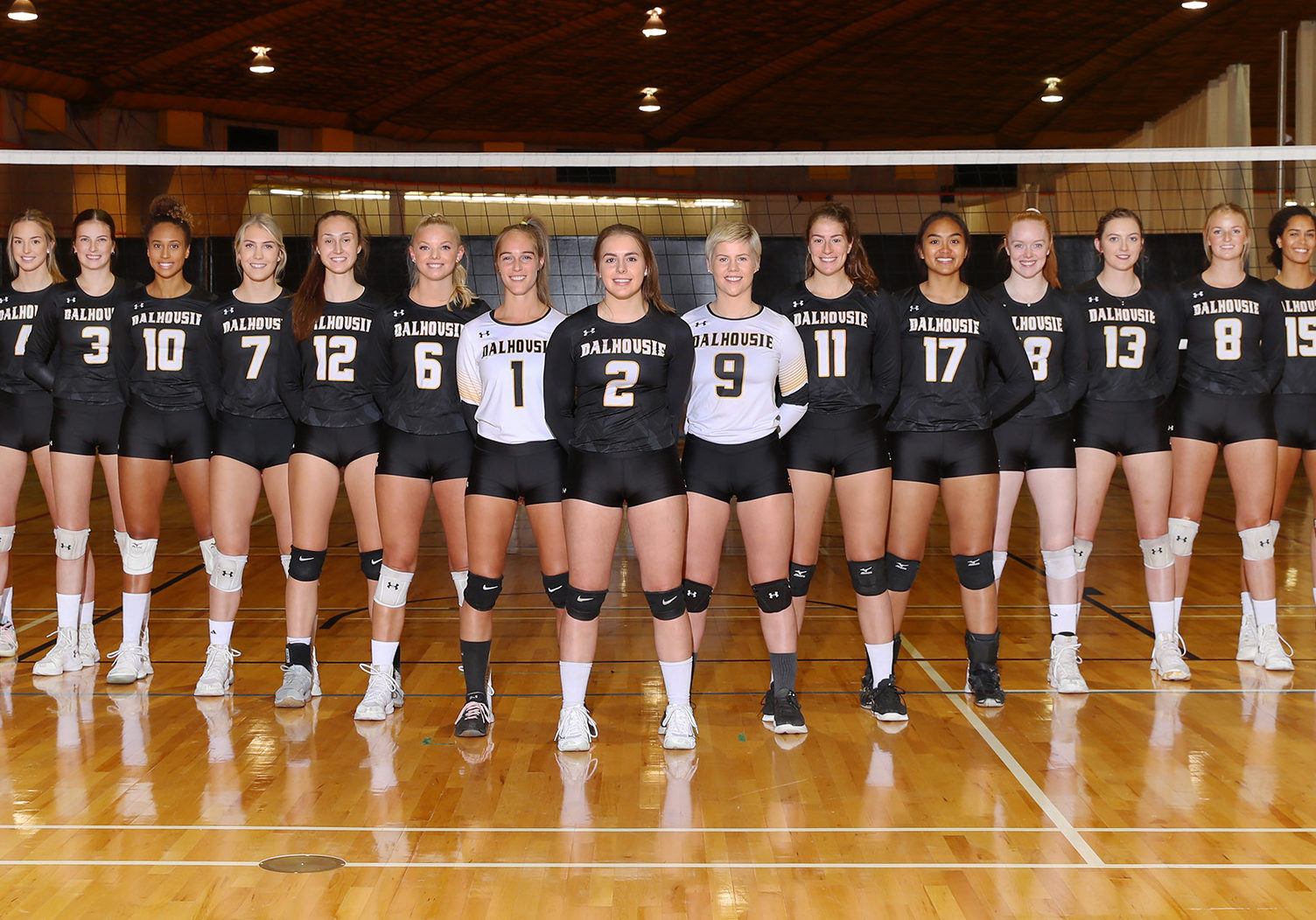 "In this image: Dalhousie University's women's volleyball team pose in a ""V"" shape."