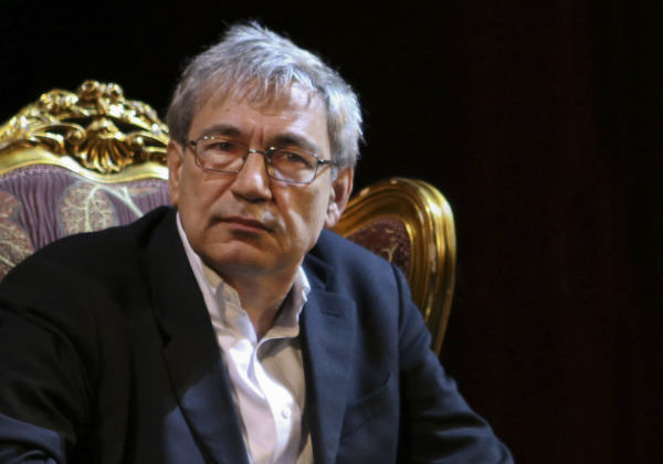 In this image: midshot of Orhan Pamuk.
